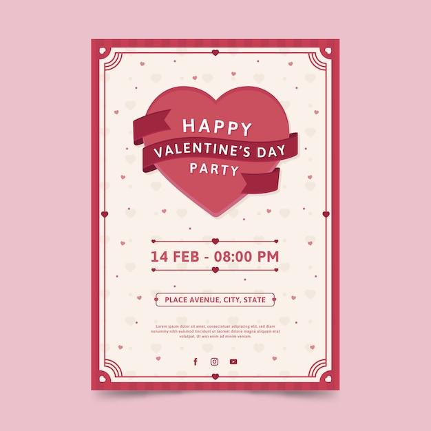 Valentinstag party flyer vorlage im flachen design Premium Vektoren