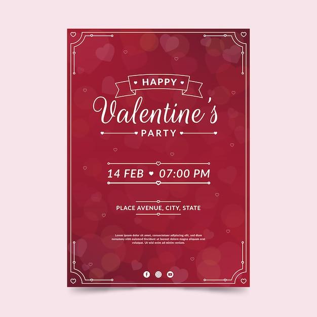 Valentinstag party flyer vorlage im flachen design Kostenlosen Vektoren