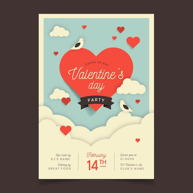 Valentinstag party flyer vorlage mit herz und wolken Kostenlosen Vektoren