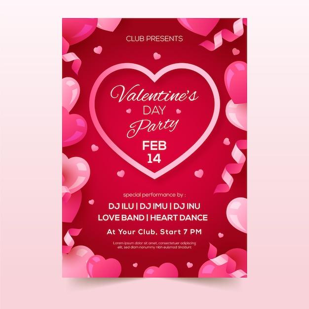 Valentinstag party flyer vorlage Kostenlosen Vektoren