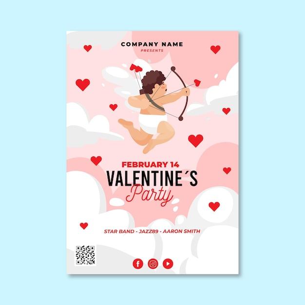 Valentinstag party flyer vorlage Premium Vektoren