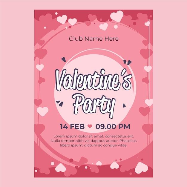 Valentinstag party flyer Kostenlosen Vektoren