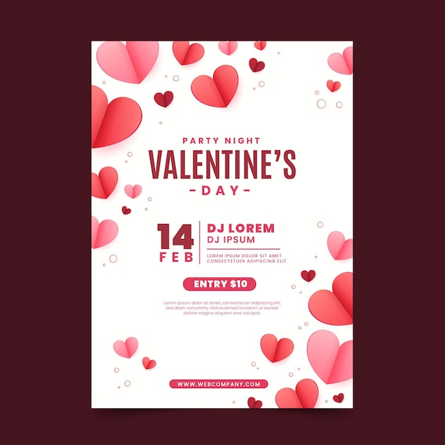 Valentinstag party flyer Premium Vektoren