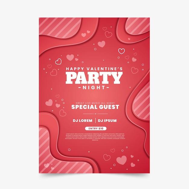 Valentinstag party flyer Premium Vektoren