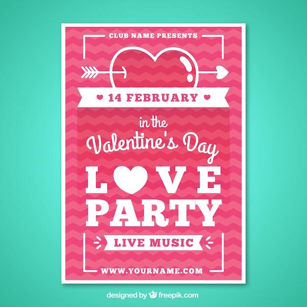 Schön Valentinstag Party Plakat Im Flachdesign Kostenlose Vektoren