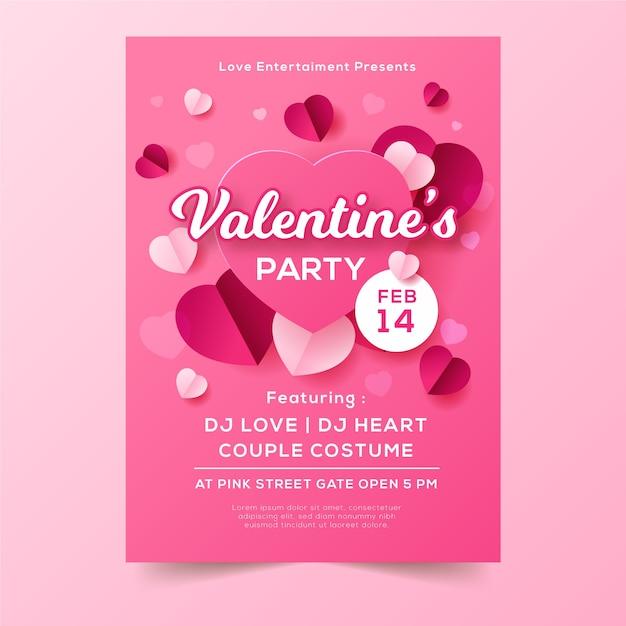 Valentinstag party plakat vorlage Kostenlosen Vektoren