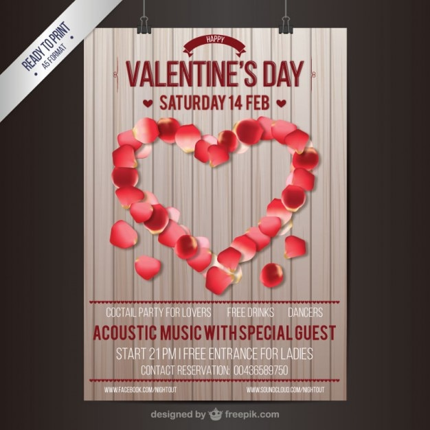 Valentinstag Party Plakat Kostenlose Vektoren