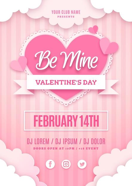 Valentinstag party poster vorlage im papierstil Kostenlosen Vektoren