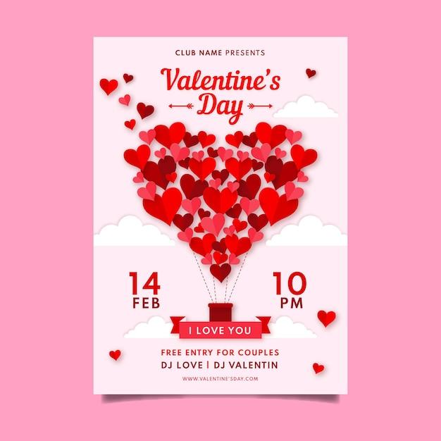 Valentinstag party poster vorlage Kostenlosen Vektoren