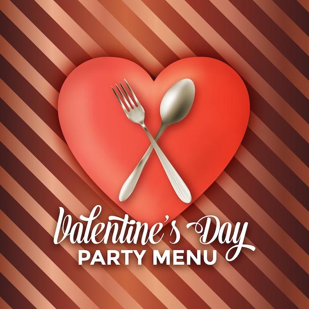 Valentinstag-partymenüentwurf Premium Vektoren