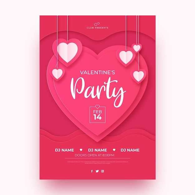 Valentinstag-partyplakatschablone im papierstil Kostenlosen Vektoren