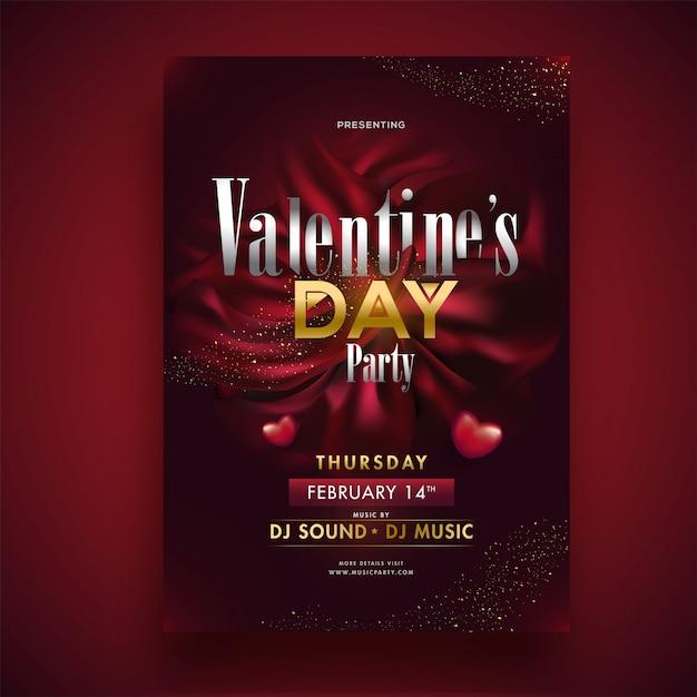 Valentinstag-partyschablone oder einladungskartendesign mit zeit-, datums- und veranstaltungsortdetails. Premium Vektoren