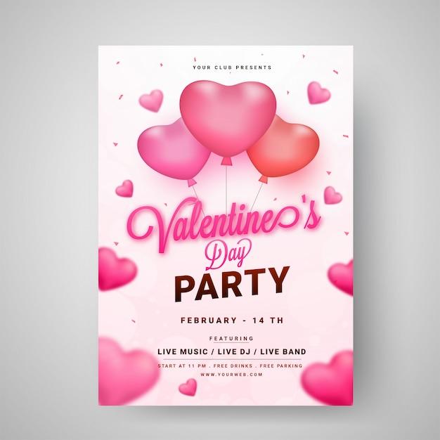 Valentinstag-partyschablone oder flyerentwurf verziert mit gl Premium Vektoren