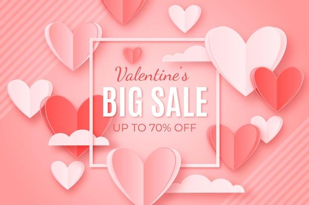 Valentinstag-partyverkauf im papierstil Premium Vektoren