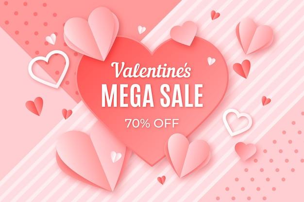 Valentinstag-partyverkauf im papierstil Kostenlosen Vektoren