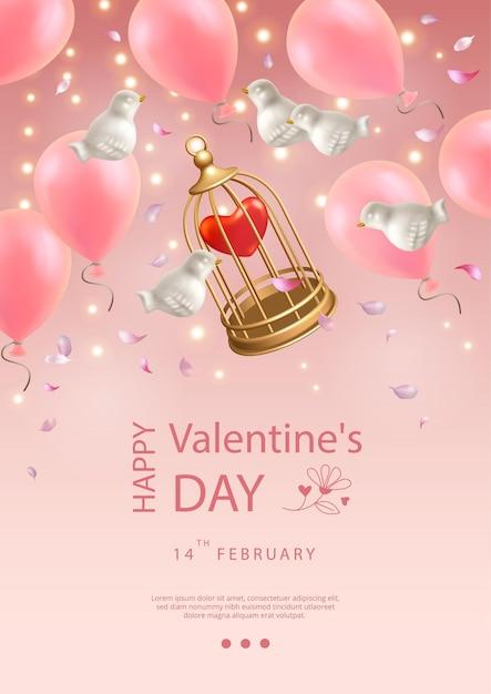 Valentinstag poster. kreative komposition von fliegenden weißen porzellanvögeln, luftballons, blütenblättern und vogelkäfig Premium Vektoren