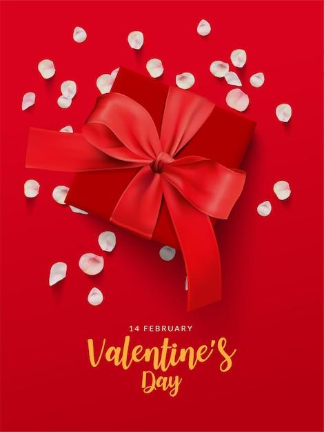 Valentinstag poster. rote geschenkbox und rosa rosenblätter auf rotem hintergrund. Premium Vektoren