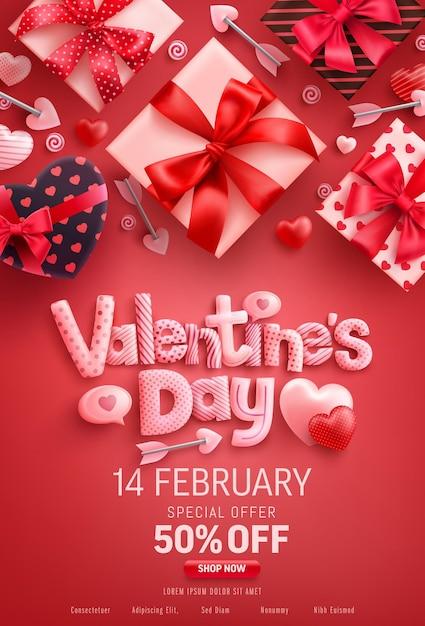 Valentinstag sale banner mit geschenkbox auf rot Premium Vektoren