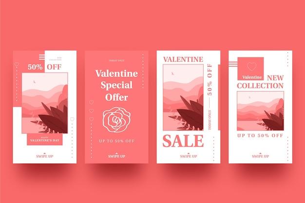 Valentinstag sale story pack Kostenlosen Vektoren