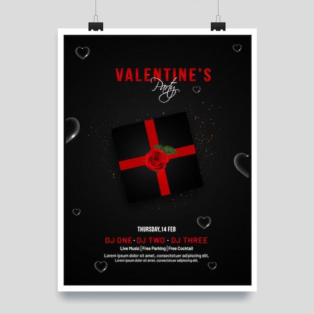 Valentinstag-schablone oder einladungskartendesign mit illustra Premium Vektoren