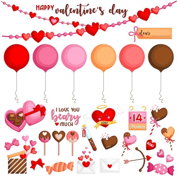 Valentinstag-set Premium Vektoren