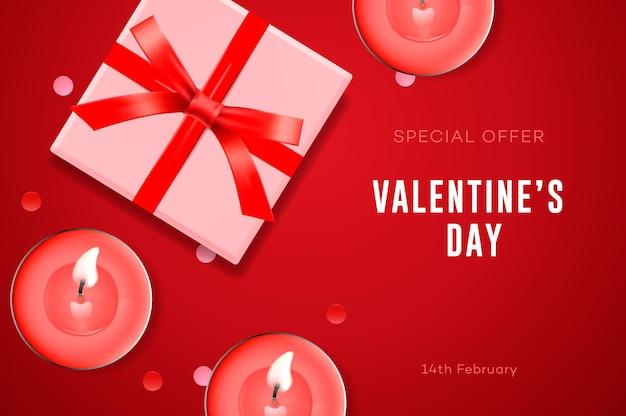 Valentinstag sonderangebot, geschenkbox, kerzen und konfetti. Premium Vektoren