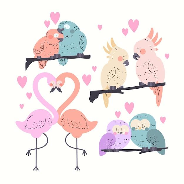 Valentinstag tier paar sammlung Kostenlosen Vektoren