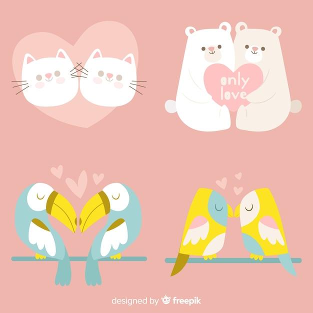Valentinstag-tierpaarsatz des pastellfarbhand gezeichneter valentinstags Kostenlosen Vektoren