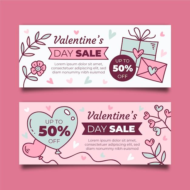 Valentinstag verkauf banner design Kostenlosen Vektoren