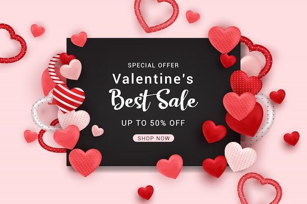 Valentinstag verkauf banner hintergrundvorlage Premium Vektoren