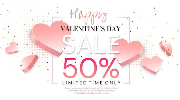 Valentinstag verkauf banner. Premium Vektoren