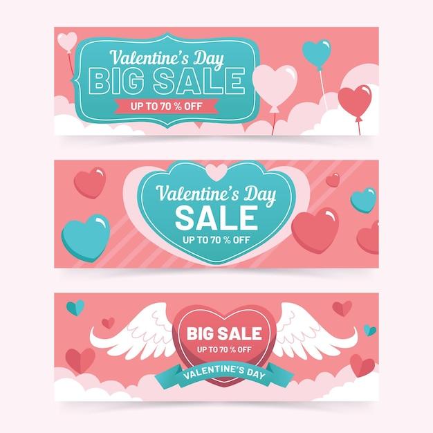 Valentinstag verkauf banner Kostenlosen Vektoren