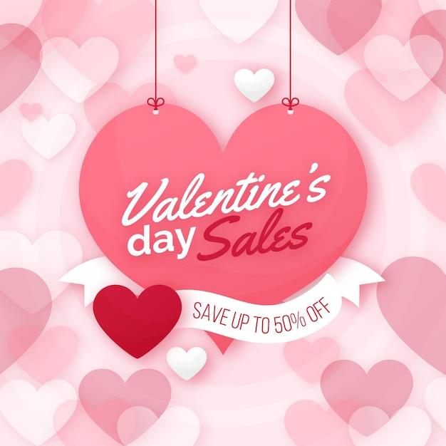 Valentinstag verkauf flaches design mit angebot Kostenlosen Vektoren