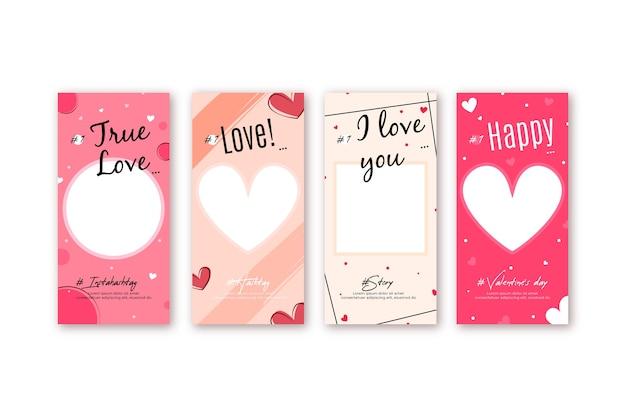 Valentinstag verkauf geschichte sammlung Premium Vektoren