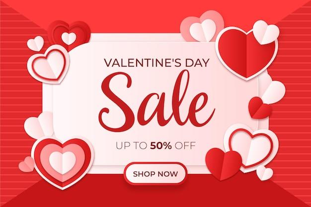 Valentinstag-verkauf im papierstil Premium Vektoren