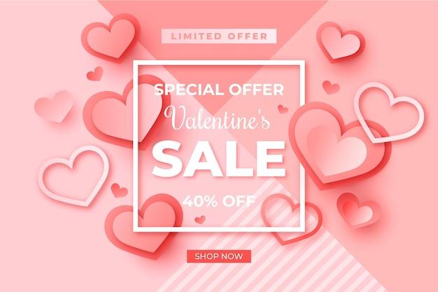 Valentinstag-verkauf im papierstil Kostenlosen Vektoren