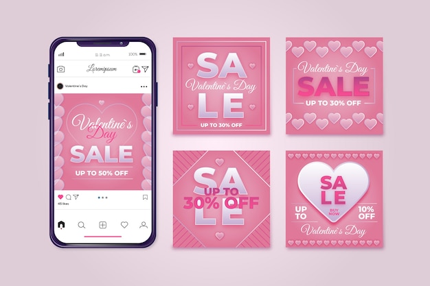 Valentinstag verkauf instagram post pack Kostenlosen Vektoren