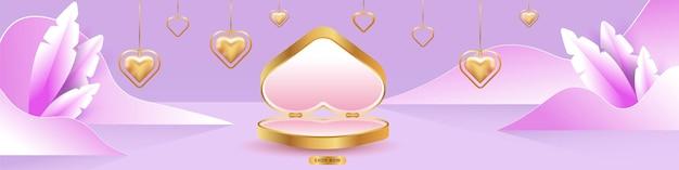 Valentinstag verkauf. leere podien, podeste oder plattformen. geschenkbox in herzform. herzförmige goldene halsketten. Premium Vektoren
