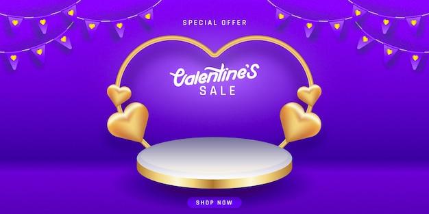 Valentinstag verkauf. leere podien, podeste oder plattformen. Premium Vektoren