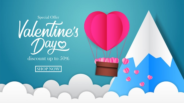 Valentinstag verkauf rabatt banner Premium Vektoren