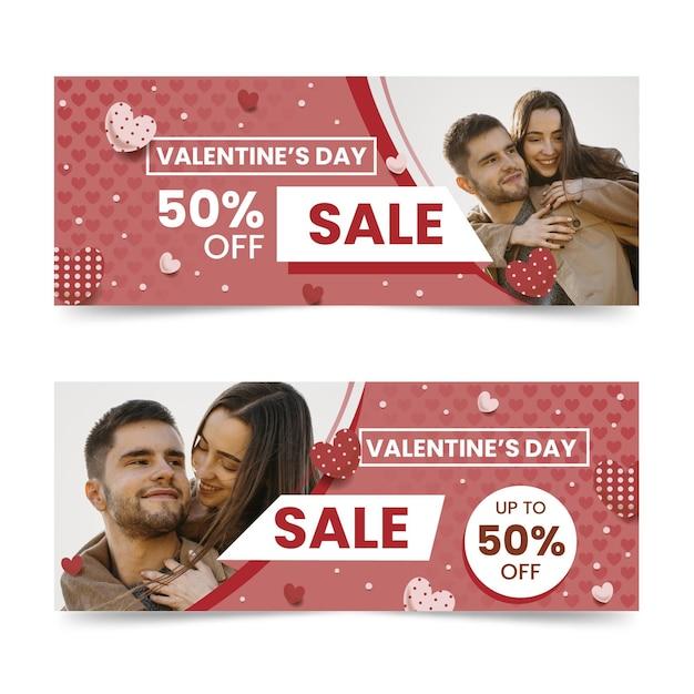 Valentinstag-verkaufsfahnen mit foto Kostenlosen Vektoren