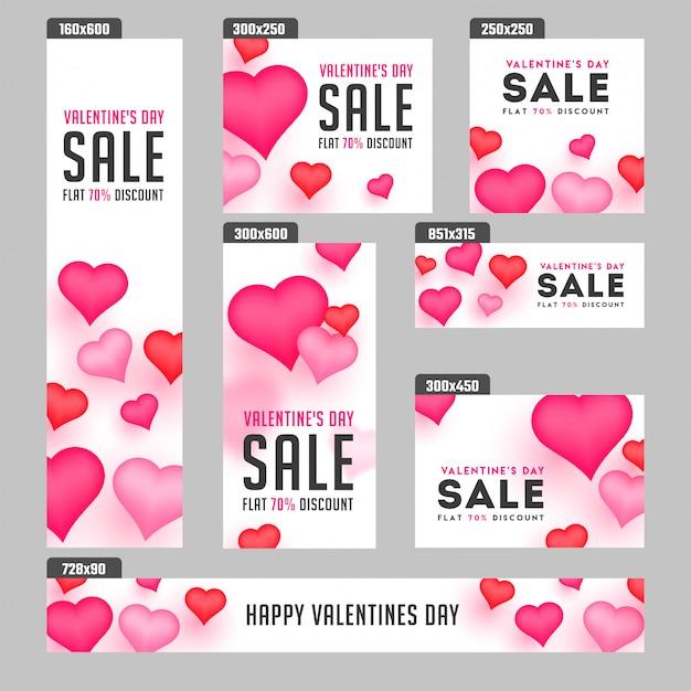 Valentinstag-verkaufsfahnen. Premium Vektoren