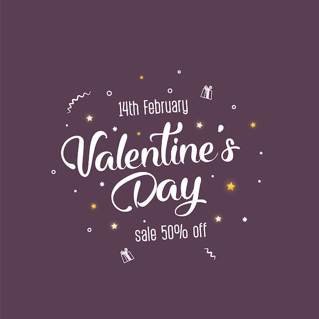 Valentinstag-verkaufsfahnenschablonendesign. Premium Vektoren
