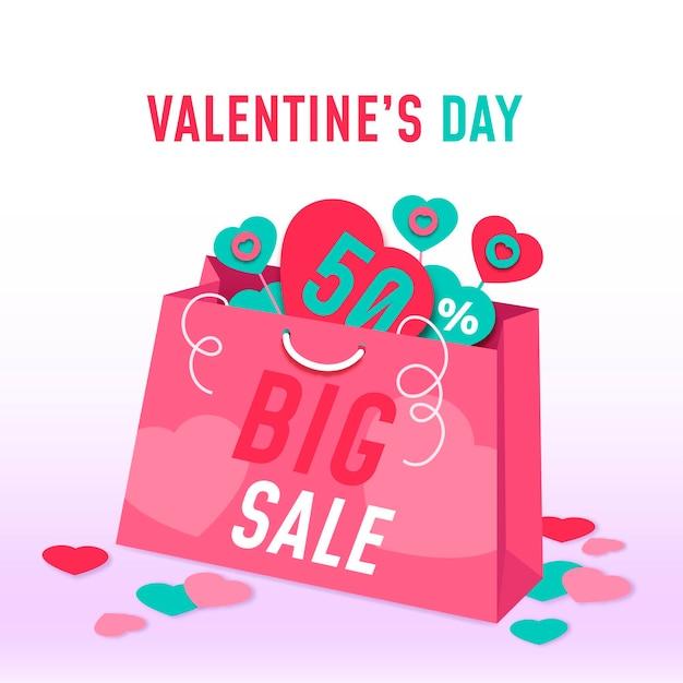 Valentinstag-verkaufsillustration Kostenlosen Vektoren