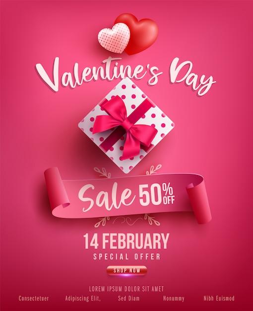 Valentinstag-verkaufsplakat oder -fahne mit süßem geschenk, schatz und reizenden einzelteilen auf rosa. förderungs- und einkaufsschablone oder für liebe und valentinstag Premium Vektoren