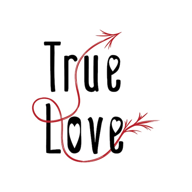 Valentinstag wahrer liebestext mit pfeil Premium Vektoren