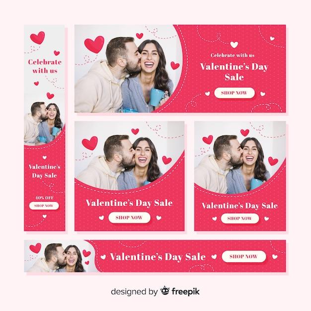 Valentinstag-web-banner mit foto Kostenlosen Vektoren