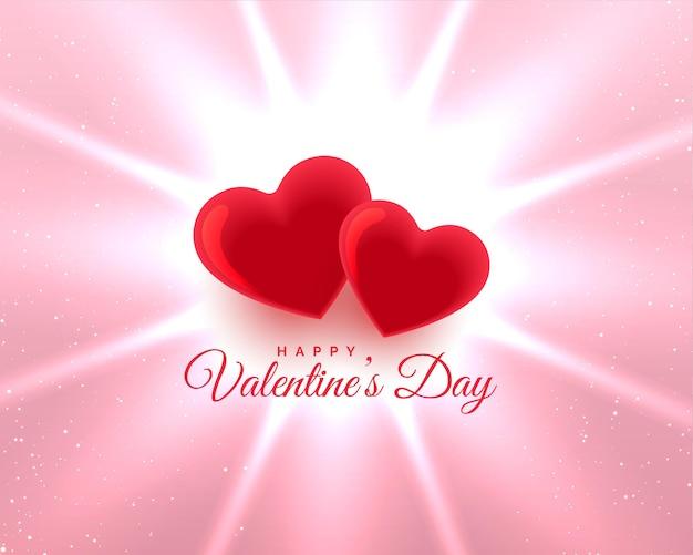 Valentinstag zwei rote herzen glühenden hintergrund Kostenlosen Vektoren