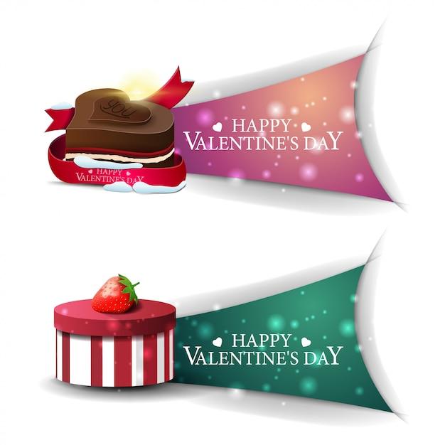 Valentinstagfahnen mit geschenken und praline Premium Vektoren