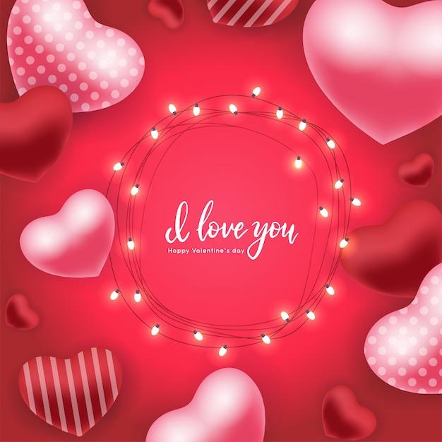 Valentinstagfeiertagskarte mit den roten rosa luftballonen 3d, glühende garls mit birnen übergeben beschriftungszitat ich liebe dich Premium Vektoren